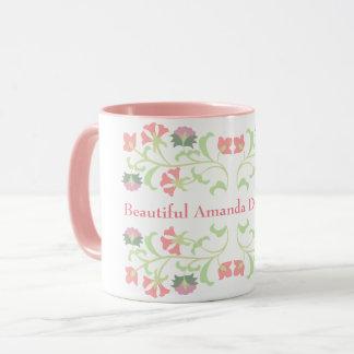 Pink floral custom message mug