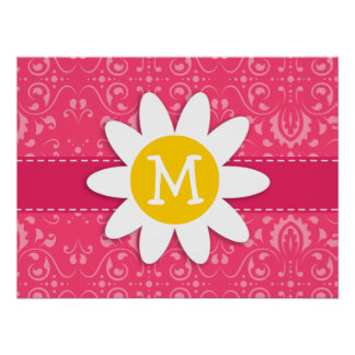 Pink Floral Daisy Posters