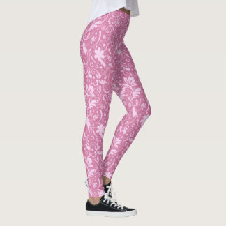 Pink Floral Damask Pattern Leggings