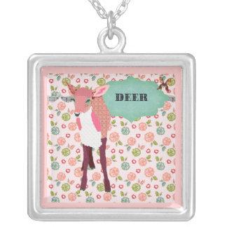 Pink Floral Deer Necklace