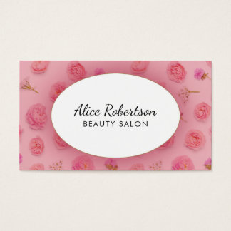 Pink floral design business card