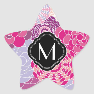 Pink Floral Design Modern Abstract Flowers Star Sticker