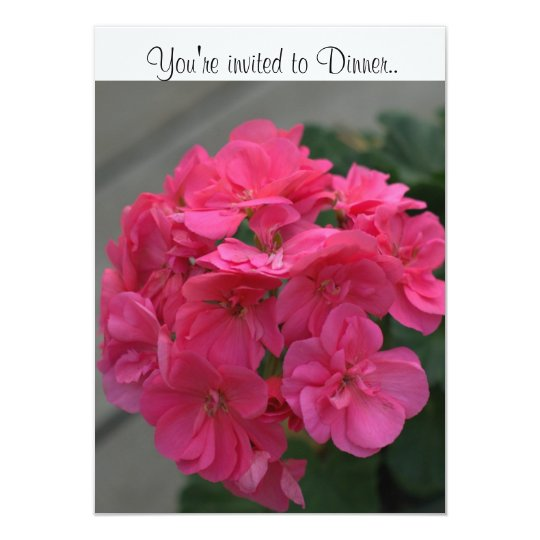 Pink Floral Dinner Invitations