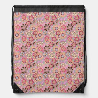 Pink Floral Drawstring Backpack