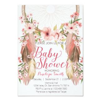 Pink Floral Dreamcatcher Baby Shower Invitation
