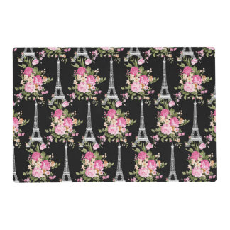 Pink Floral Eiffel Tower on Black Laminated Placemat