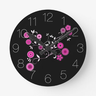 Pink Floral Explosion Round Clock