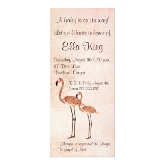 "Pink Floral Flamingos Baby Invitation 4"" X 9.25"" Invitation Card"