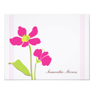 """Pink Floral Flat Note Card 4.25"""" X 5.5"""" Invitation Card"""