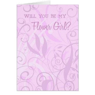 Pink Floral Flower Girl Invitation Card