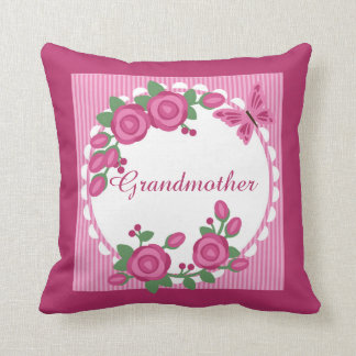 Pink Floral Frame Grandmother Cushion