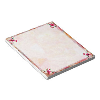 Pink floral frame notepad