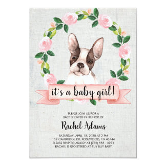 Pink Floral French Bull Dog Baby Shower Card