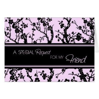 Pink  Floral Friend Bridesmaid Invitation Card