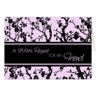 Pink Floral Friend Maid of Honour Invitation Card