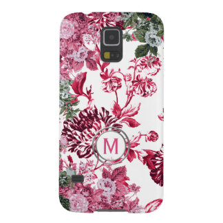 Pink Floral Garden Monogram Cases For Galaxy S5
