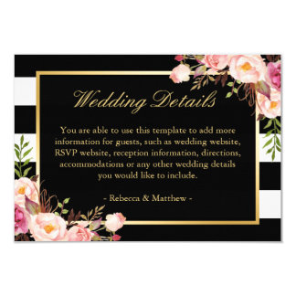 Pink Floral Gold Black Stripes Wedding Details Card