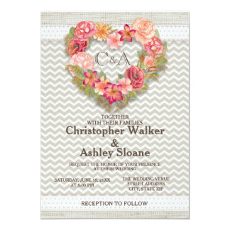 Pink Floral Gray Chevron Hearts Wedding Invitation