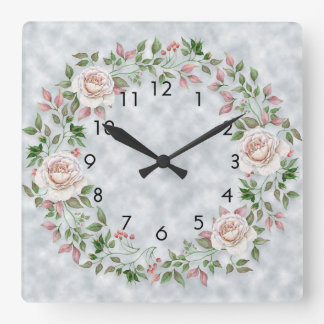 Pink Floral Green Leaves on Light Blue Wall Clock