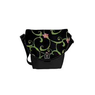 Pink Floral Green Vines Messenger Bags