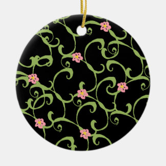 Pink Floral Green Vines Round Ceramic Decoration