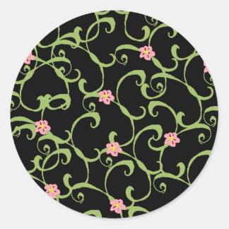 Pink Floral Green Vines Round Sticker