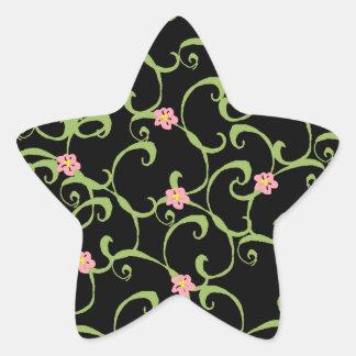 Pink Floral Green Vines Star Sticker