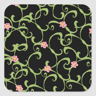 Pink Floral Green Vines Stickers