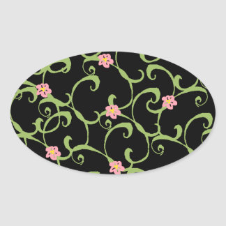 Pink Floral Green Vines Oval Sticker