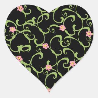Pink Floral Green Vines Heart Sticker
