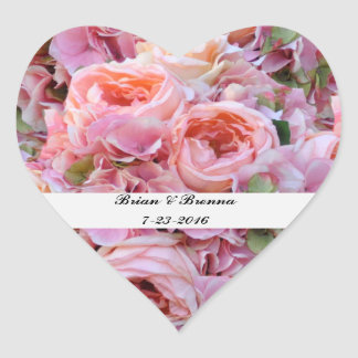 Pink Floral Heart Wedding Stickers & Envelope Seal