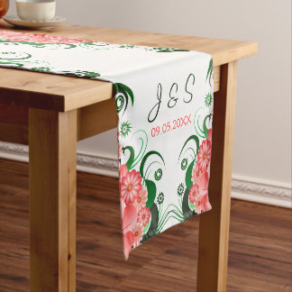 Pink Floral Hibiscus 16 x 108 Wedding Table Runner