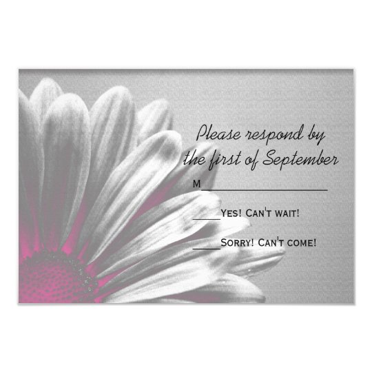 Pink Floral Highlights Wedding RSVP Response Card