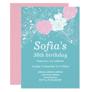 pink floral invitation card woman party