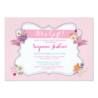 Pink Floral It's a Girl / Twins Baby Shower Invite