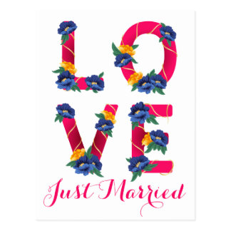 Pink Floral Just Married Wedding Love Flowers Postcard