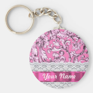 Pink floral lace pattern key ring