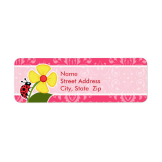 Pink Floral; Ladybug Return Address Label
