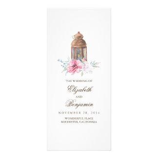 Pink Floral Lantern Wedding Programs Rack Card
