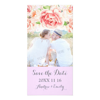 Pink Floral Lavender Save the Date Wedding Photo Photo Card Template