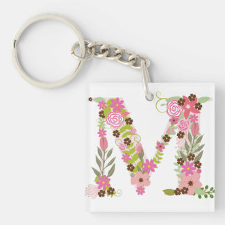 Pink Floral 'Letter M' Monogram Key Ring