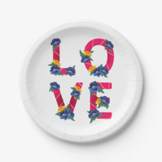 Pink Floral Love Blue Yellow Wedding Flowers Paper Plate