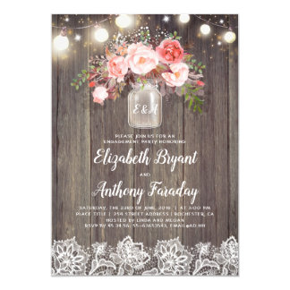 Pink Floral Mason Jar Rustic Lace Engagement Party Card