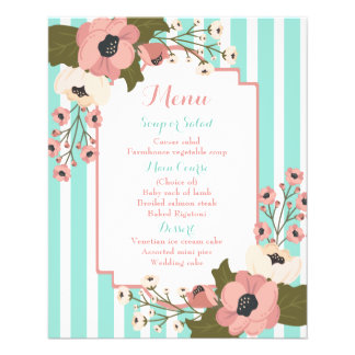 Pink Floral Menu Mint Blue Stripes  Wedding