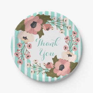 Pink Floral Mint Green Blue Stripes Flower Wedding 7 Inch Paper Plate