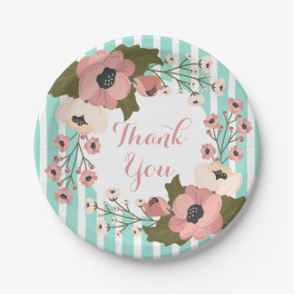 Pink Floral Mint Green Blue Stripes Wedding Flower 7 Inch Paper Plate
