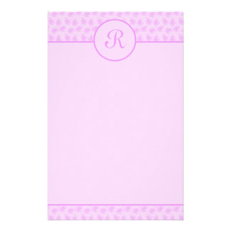 Pink Floral Monogram Initial Stationery