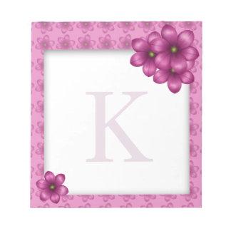 Pink Floral Monogram Notepad