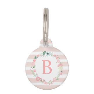 Pink Floral Monogram Pet ID Tags