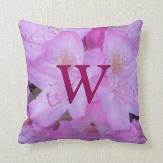 Pink Floral Monogram Throw Pillow
